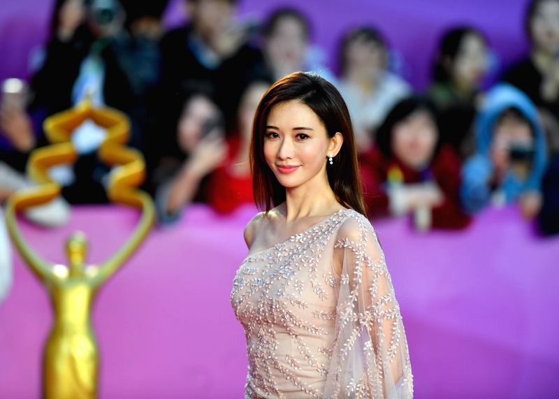 BEIJING, April 22, 2018 - Actress Lin Chi-ling poses on the red carpet for the closing ceremony of the 8th Beijing International Film Festival (BJIFF) in Beijing, capital of China, April 22, 2018. - Lin Chi