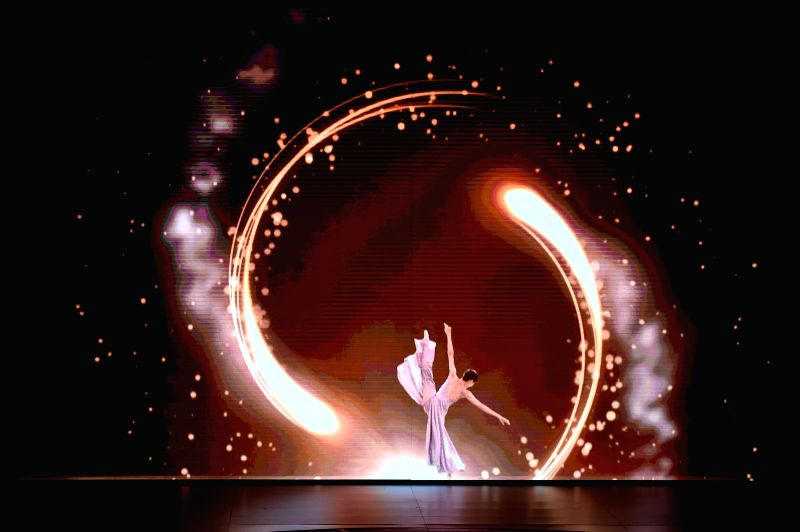 A dancer performs during the closing ceremony the fifth Beijing International Film Festival (BJIFF) in Beijing, capital of China, April 23, 2015.  (Xinhua/Li Wen) ...