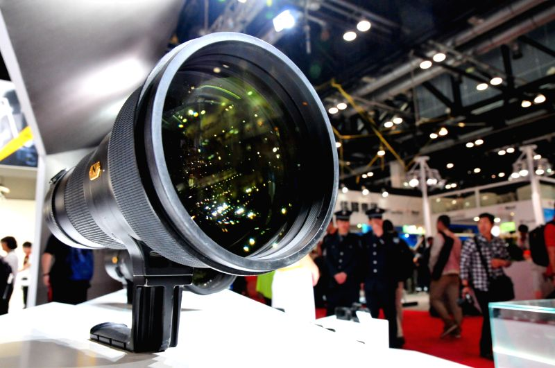 A Nikon lens is seen during the 17th China International Photograph & Electrical Imaging Machinery and Technology Fair in Beijing, capital of China, April 25, .