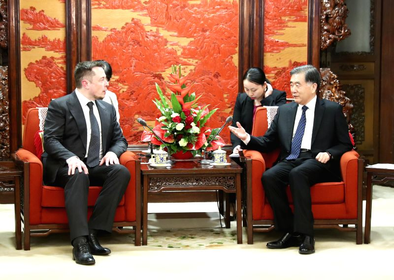BEIJING , April 25, 2017 - Chinese Vice Premier Wang Yang (R) meets with the CEO of Tesla Motors Elon Musk in Beijing, capital of China, April 25, 2017.  (Xinhua/Xie Huanchi)
