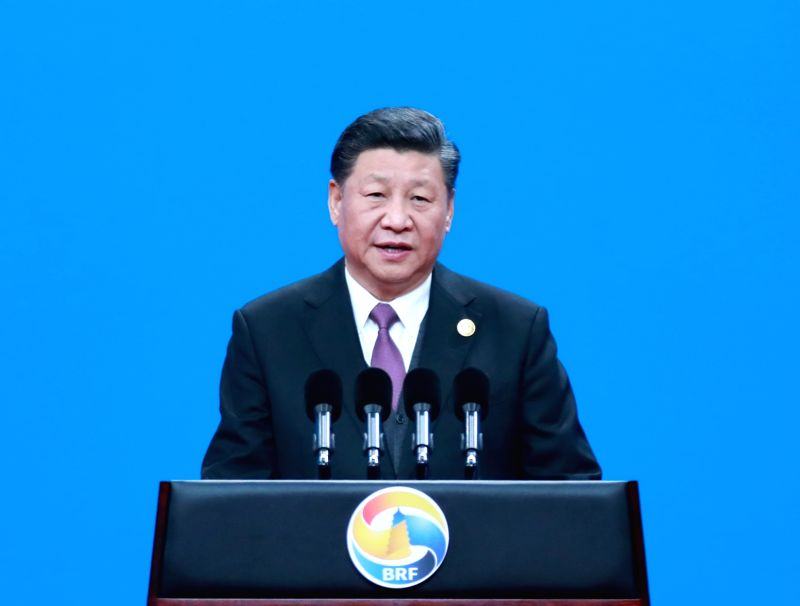 """Beijing, April 26, 2019 (Xinhua) -- Chinese President Xi Jinping President Xi Jinping attended the opening ceremony of the 2nd """"Belt and Road"""" International Cooperation Summit Forum in Beijing, and delivered a keynote speech tit"""