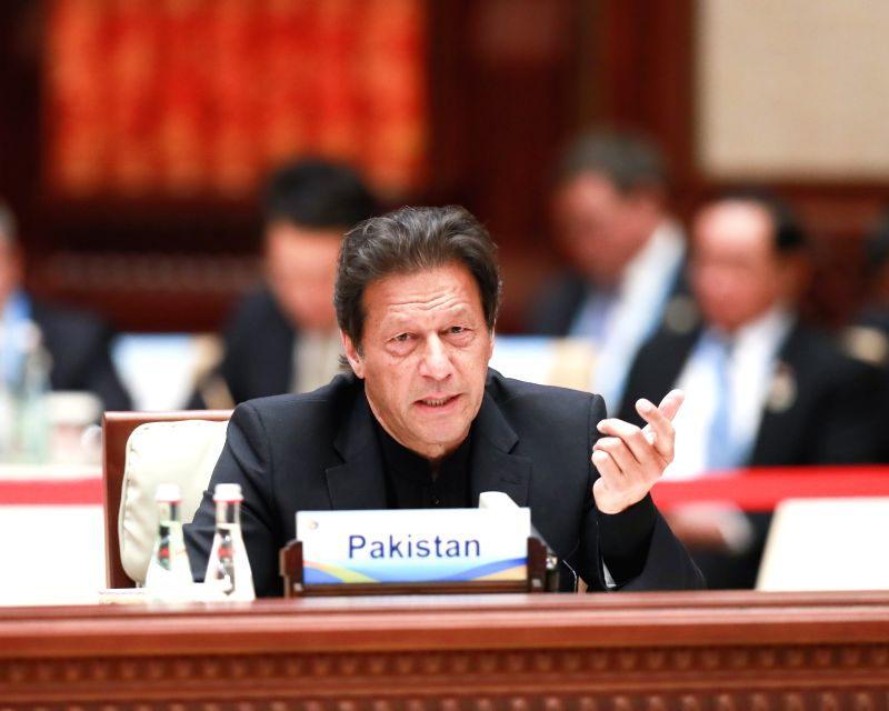 BEIJING, April 27, 2019 (Xinhua) -- Pakistani Prime Minister Imran Khan speaks at the leaders' roundtable meeting of the Second Belt and Road Forum for International Cooperation at the Yanqi Lake International Convention Center in Beijing, capital of