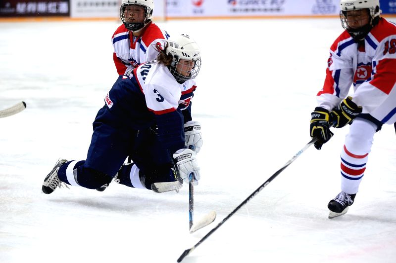 Martina Staronova (L) of Slovakia competes during the match between Slovakia and the Democratic People's Republic of Korea (DPRK) at the 2015 IIHF Women's World Championship ...