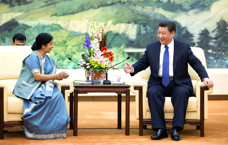 Chinese President Xi Jinping (R) meets with Indian Foreign Minister Sushma Swaraj in Beijing, capital of China, Feb. 2, 2015. - Sushma Swaraj
