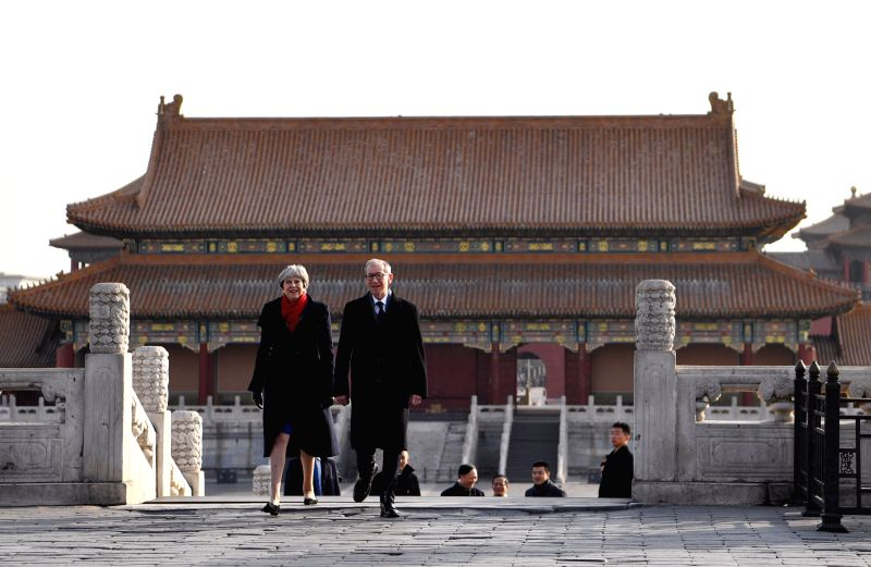 BEIJING, Feb. 1, 2018 - British Prime Minister Theresa May and her husband Philip May visit the Palace Museum, or the Forbidden City, in Beijing, capital of China, Feb. 1, 2018. Theresa May on ... - Theresa May