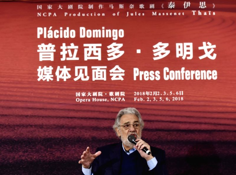 BEIJING, Jan. 29, 2018 - Spanish actor Placido Domingo speaks at the press conference of the opera Thais in Beijing, capital of China, Jan. 29, 2018. The opera was adapted by dramatist Louis Calais ... - Placido Domingo