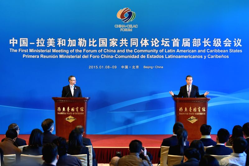 Chinese Foreign Minister Wang Yi (R) and his Costa Rican counterpart Manuel Gonzalez Sanz hold a press conference in Beijing, capital of China, Jan. 9, 2015. The ... - Wang Y