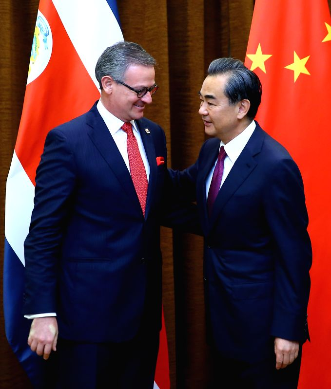 BEIJING, July 18, 2016 - Chinese Foreign Minister Wang Yi (R) holds talks with visiting Costa Rican Minister of Foreign Affairs Manuel Gonzalez Sanz in Beijing, capital of China, July 18, 2016. ... - Wang Y