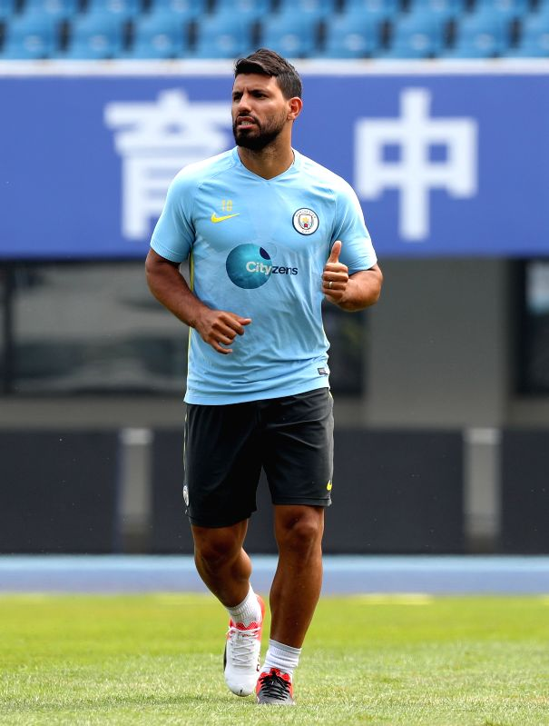 BEIJING, July 24, 2016 - Sergio Aguero of Manchester City takes part in the training session for the match against Manchester United FC of 2016 International Champions Cup China soccer tournament at ...