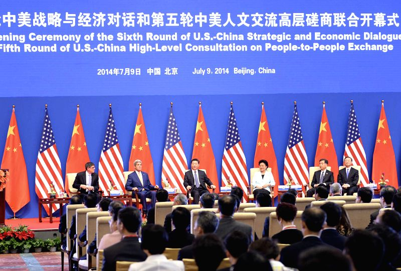 Chinese President Xi Jinping (3rd L) attends the joint opening ceremony of the Sixth Round of China-U.S. Strategic and Economic Dialogue and the Fifth Round of ...