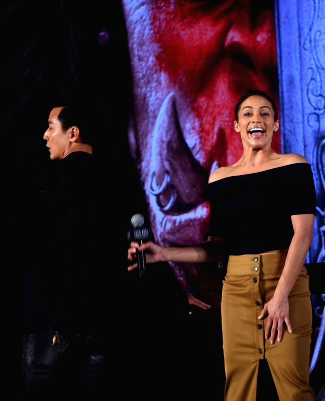 BEIJING, June 1, 2016 - Actress Paula Patton (R) attends a press conference for her new movie Warcraft in Beijing, capital of China, June 1, 2016. The epic fantasy movie, directed by Duncan Jones and ... - Paula Patton