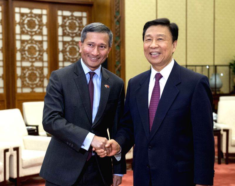 BEIJING, June 12, 2017 - Chinese Vice President Li Yuanchao meets with Singapore's Minister for Foreign Affairs Vivian Balakrishnan in Beijing, capital of China, June 12, 2017.