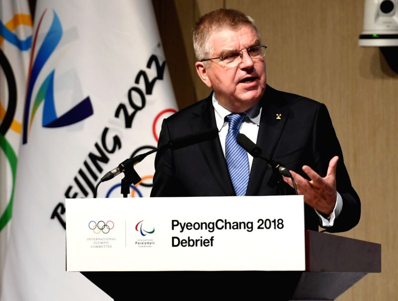 BEIJING, June 5, 2018 - International Olympic Committee President Thomas Bach speaks at the opening session of the PyongChang 2018 Debrief meeting in Beijing on June 4, 2018. The PyeongChang 2018 ...