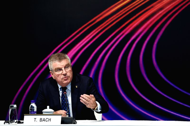 BEIJING, June 5, 2018 - International Olympic Committee President Thomas Bach speaks during the press conference after the closing ceremony of the strategic session at the PyeongChang 2018 Debrief ...