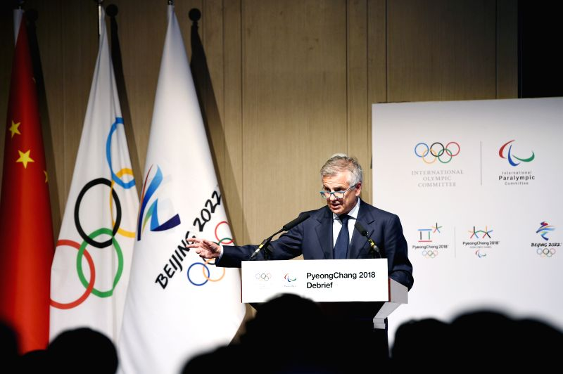 BEIJING, June 5, 2018 - International Olympic Committee Vice President Juan Antonio Samaranch gives a speech during the closing ceremony of the strategic session at the PyeongChang 2018 Debrief ...