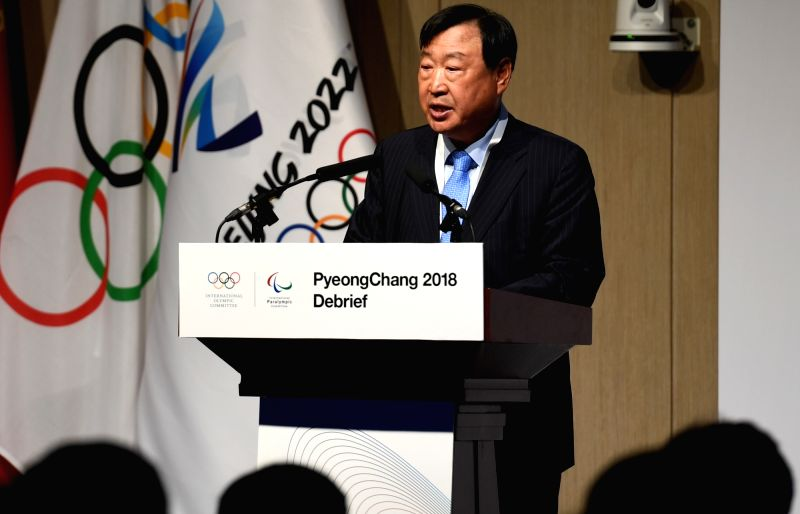 BEIJING, June 5, 2018 - President of the PyeongChang 2018 Organising Committee Lee Hee-beom speaks at the PyongChang 2018 Debrief meeting in Beijing on June 4, 2018. The PyeongChang 2018 Debrief ...