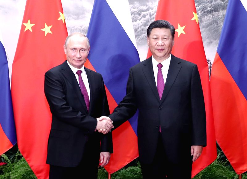BEIJING, June 8, 2018 - Chinese President Xi Jinping holds talks with his Russian counterpart Vladimir Putin in Beijing, capital of China, June 8, 2018.