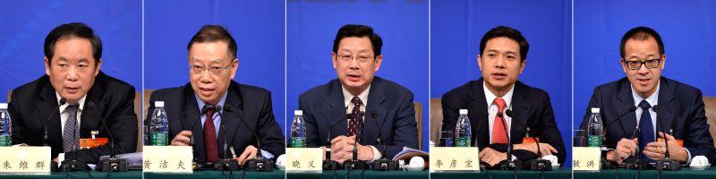 The combination photo taken on March 11, 2015 shows(L-R) Zhu Weiqun, Huang Jiefu, Hu Xiaoyi, Li Yanhong, Yu Minhong, members of the 12th National Committee of the ...