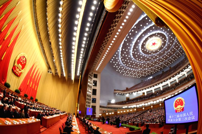The closing meeting of the third annual session of China's 12th National People's Congress (NPC) is held at the Great Hall of the People in Beijing, capital of ...