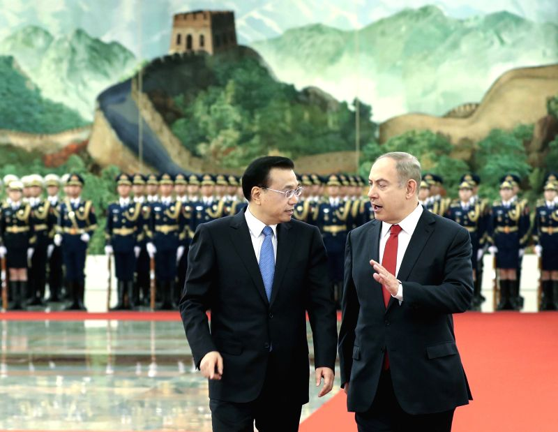 BEIJING, March 20, 2017 - Chinese Premier Li Keqiang (L) holds a welcome ceremony for visiting Israeli Prime Minister Benjamin Netanyahu before their talks in Beijing, capital of China, March 20, ... - Benjamin Netanyahu