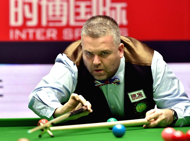 Marcus Campbell of Scotland competes during his first round match against Ding Junhui of China at the 2015 World Snooker China Open in Beijing, capital of China, ... - Marcus Campbell