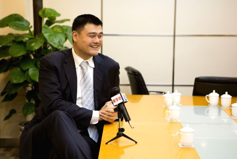 Yao Ming, former NBA star and a member of the 12th National Committee of the Chinese People's Political Consultative Conference (CPPCC), receives an exclusive ...