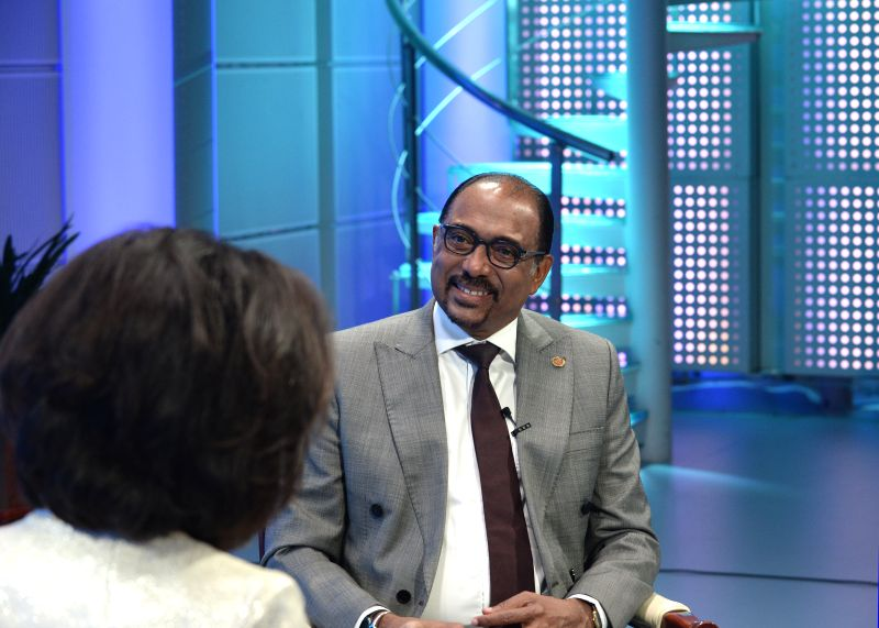 BEIJING, May 12, 2017 - UN Under Secretary General and Executive Director of UNAIDS Michel Sidibe receives an interview with Xinhua News Agency on China's Belt and Road Initiative in Beijing, capital ...