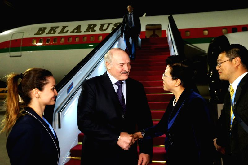 BEIJING, May 13, 2017 - Belarusian President Alexander Lukashenko (2nd L) arrives in Beijing, capital of China, May 13, 2017, to attend the upcoming Belt and Road Forum (BRF) for International ...