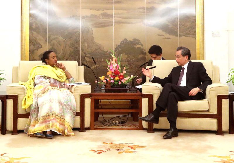 BEIJING, May 14, 2017 - Chinese Foreign Minister Wang Yi (R) meets with his Kenyan counterpart Amina Mohamed, who is here for the Belt and Road Forum (BRF) for International Cooperation, in Beijing, ... - Wang Y