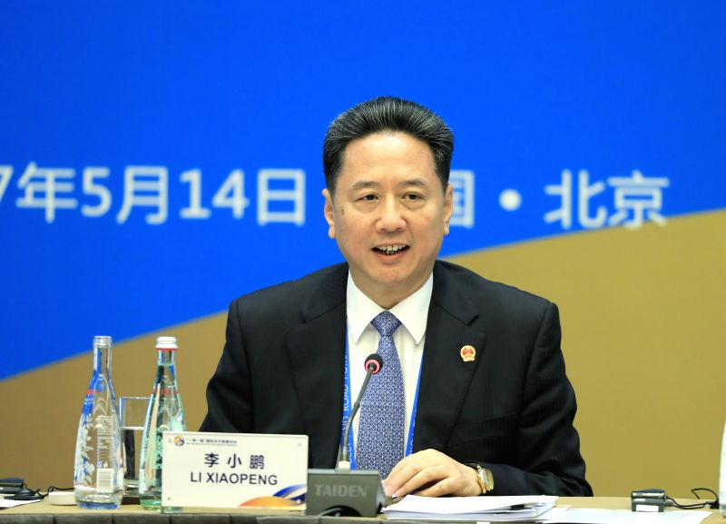 BEIJING, May 14, 2017 - Chinese Minister of Transport Li Xiaopeng speaks at Thematic Session on Infrastructure Connectivity of the Belt and Road Forum (BRF) for International Cooperation in Beijing, ...