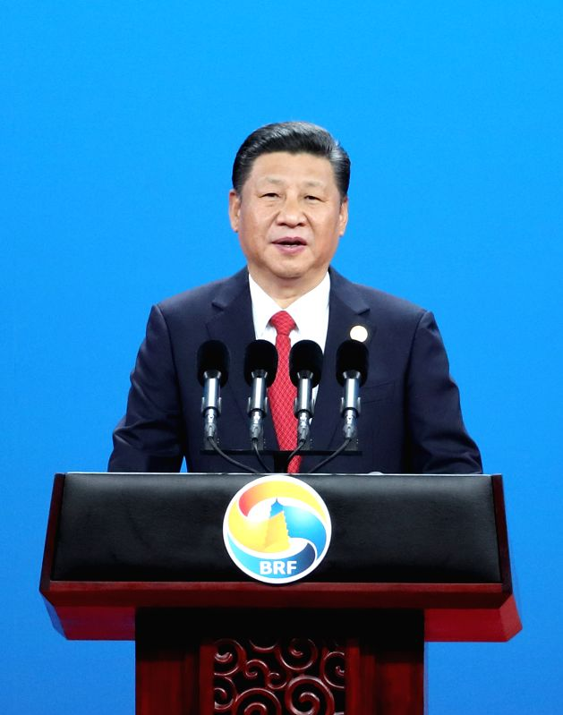 BEIJING, May 14, 2017 - Chinese President Xi Jinping delivers a keynote speech at the opening ceremony of the Belt and Road Forum (BRF) for International Cooperation in Beijing, capital of China, May ...