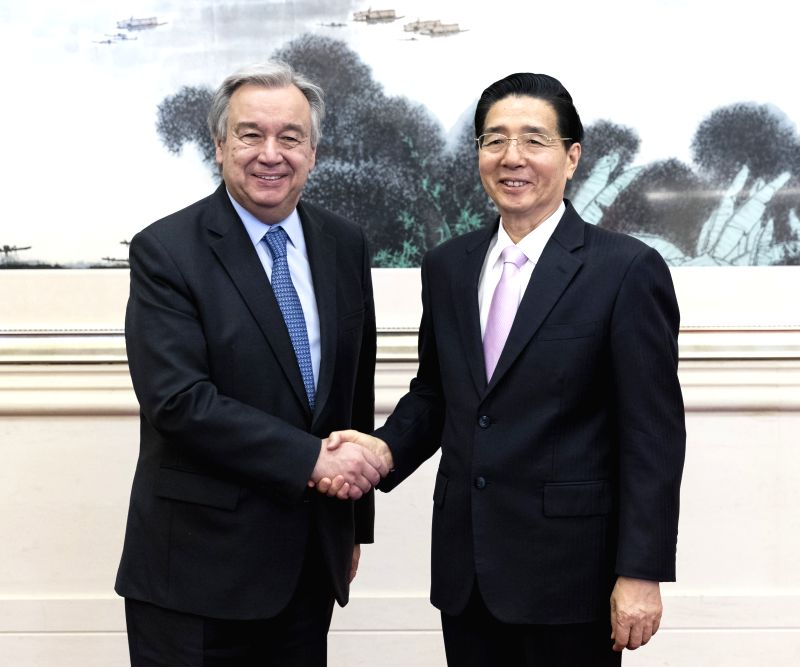 BEIJING, May 14, 2017 - Chinese State Councilor and Minister of Public Security Guo Shengkun (R) meets with UN Secretary-General Antonio Guterres, who is here to attend the Belt and Road Forum (BRF) ...