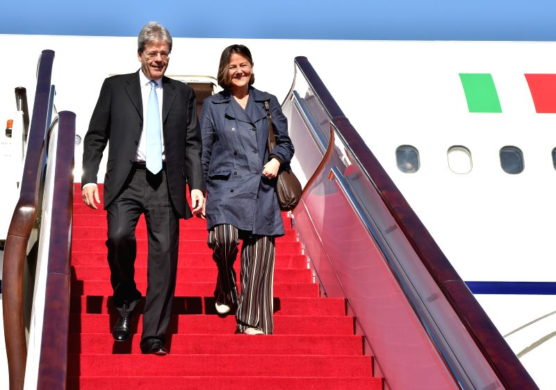 BEIJING, May 14, 2017 - Italian Prime Minister Paolo Gentiloni (L) arrives in Beijing, capital of China, May 14, 2017, to attend the Belt and Road Forum (BRF) for International Cooperation. - Paolo Gentiloni
