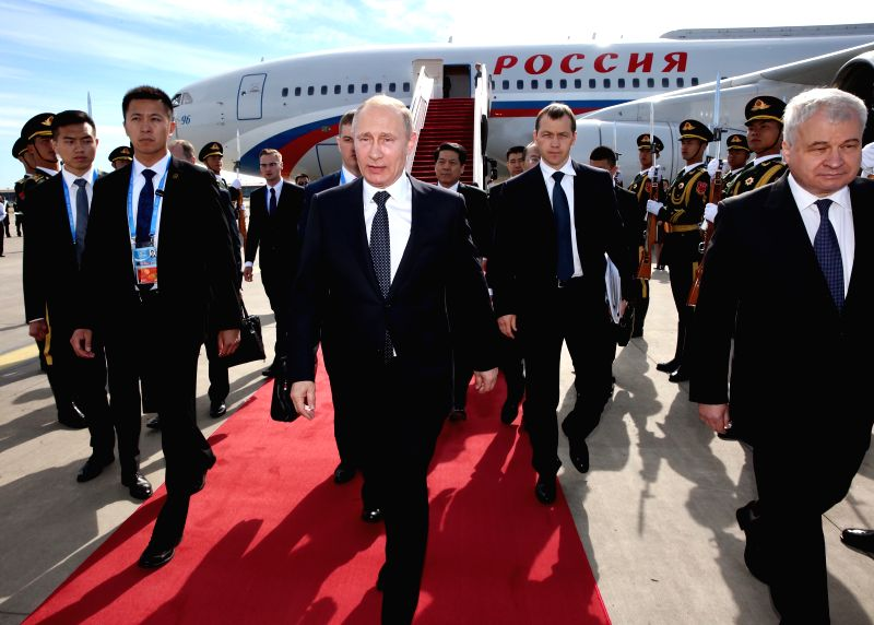 BEIJING, May 14, 2017 - Russian President Vladimir Putin arrives in Beijing, capital of China, May 14, 2017, to attend the Belt and Road Forum (BRF) for International Cooperation.