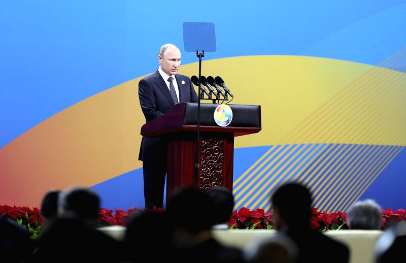 BEIJING, May 14, 2017 - Russian President Vladimir Putin addresses the opening ceremony of the Belt and Road Forum for International Cooperation in Beijing, capital of China, May 14, 2017.