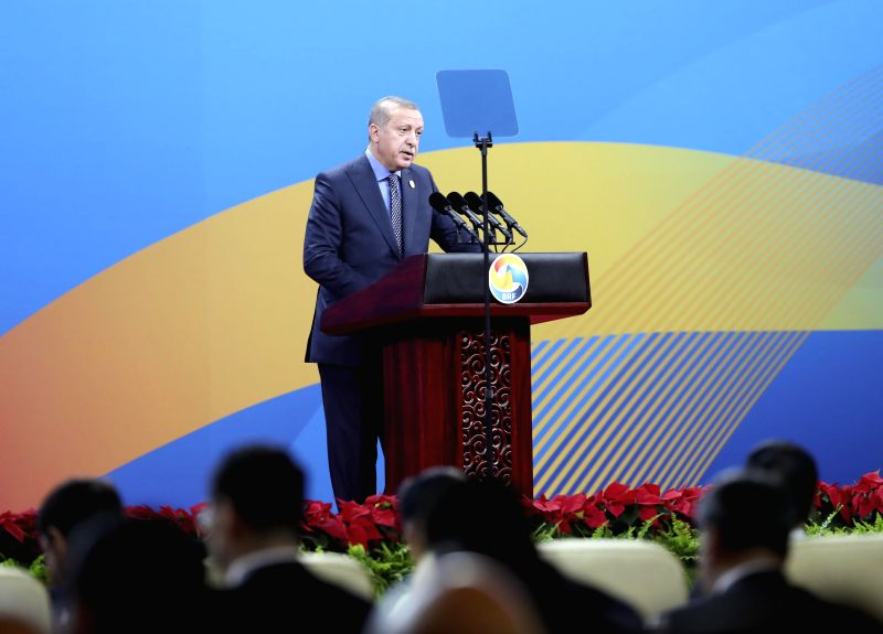BEIJING, May 14, 2017 - Turkish President Recep Tayyip Erdogan addresses the opening ceremony of the Belt and Road Forum for International Cooperation in Beijing, capital of China, May 14, 2017.