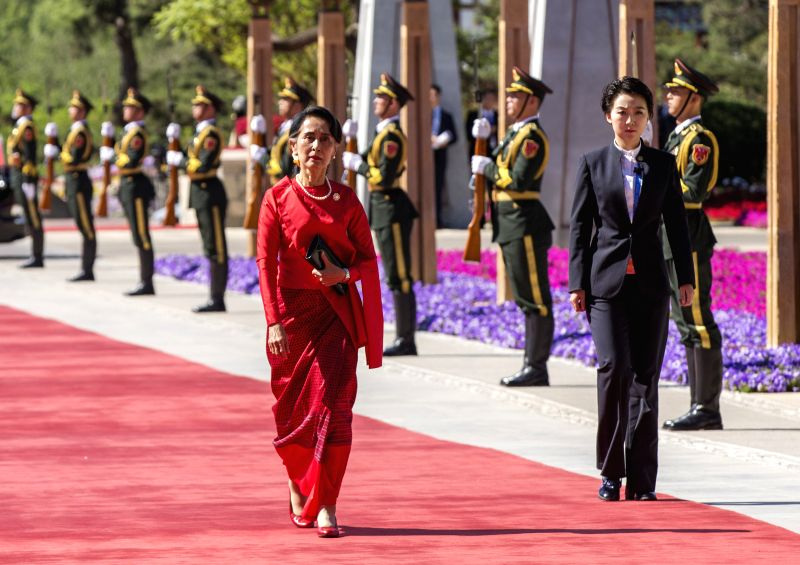 BEIJING, May 15,2017 - Myanmar State Counselor Aung San Suu Kyi arrives for the ers' Roundtable Summit at the Belt and Road Forum (BRF) for International Cooperation at Yanqi Lake International ...