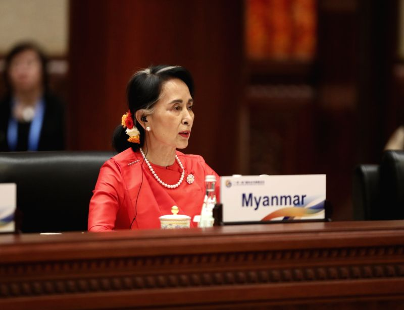 BEIJING, May 15, 2017 - Myanmar State Counselor Aung San Suu Kyi speaks at the ers' Roundtable Summit of the Belt and Road Forum (BRF) for International Cooperation at Yanqi Lake International ...