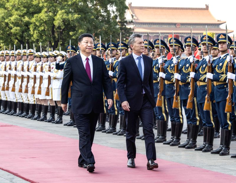 BEIJING, May 17, 2017 - Chinese President Xi Jinping holds a welcome ceremony for his Argentine counterpart Mauricio Macri before their talks in Beijing, capital of China, May 17, 2017.  (Xinhua/Li ...