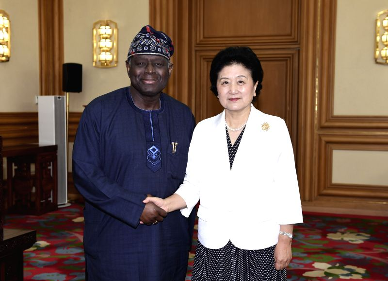 BEIJING, May 17, 2017 - Chinese Vice Premier Liu Yandong meets with Executive Director of UN Population Fund (UNFPA) Babatunde Osotimehin in Beijing, capital of China, May 16, 2017. (Xinhua/Gao Jie)