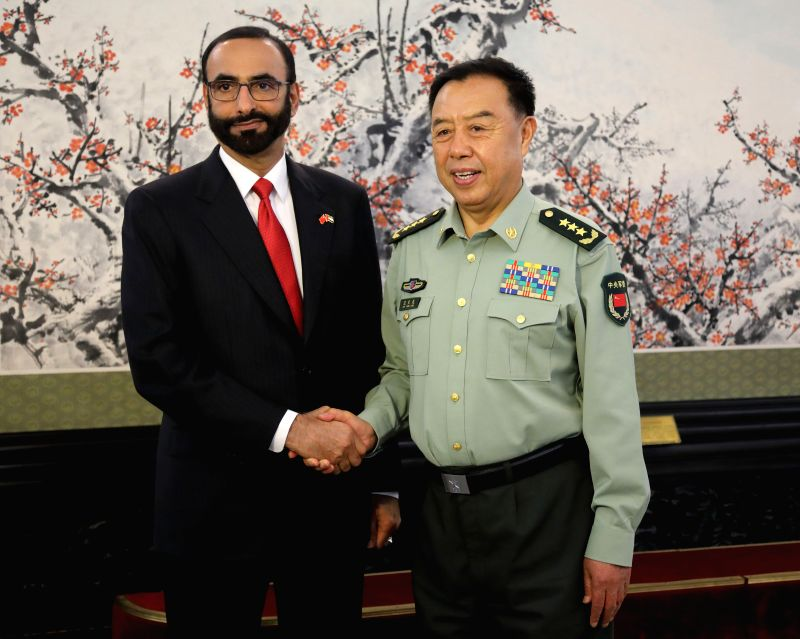BEIJING, May 17, 2017 - Fan Changlong (R), vice chairman of China's Central Military Commission, meets with Minister of State for Defense of the United Arab Emirates Mohammed Al-Bowardi in Beijing, ...