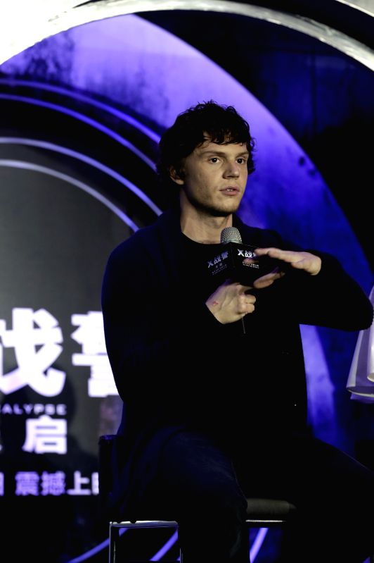 """BEIJING, May 18, 2016 - Actor Evan Peters as Quicksilver in the film """"X-Men: Apocalypse"""" attends a press conference for the film in Beijing, capital of China, May 18, 2016. The release date ... - Evan Peters"""