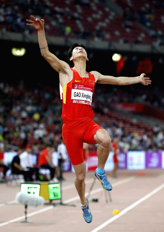 BEIJING, MAY 18, 2016 - Gao Xinglong of China competes during Men's Long Jump Final at 2016 IAAF World Challenge Beijing at National Stadium in Beijing, capital of China, on May 18, 2016. Gao ...