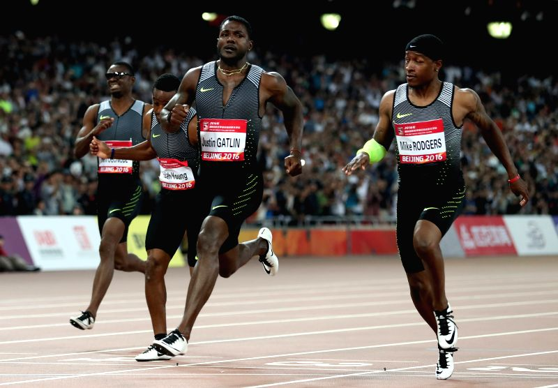 BEIJING, MAY 18, 2016 - Justin Gatlin (2nd R) of the United States sprints during the Men's 100m Final at 2016 IAAF World Challenge Beijing at National Stadium in Beijing, China, on May 18, 2016. ...