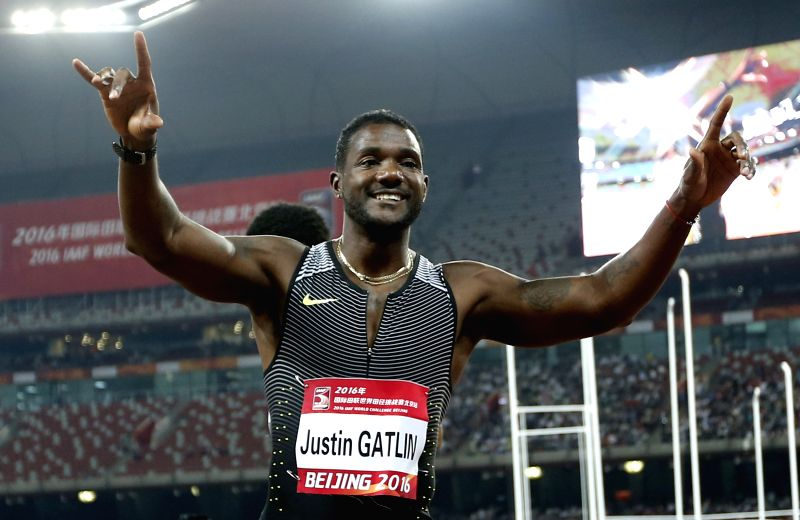 BEIJING, MAY 18, 2016 - Justin Gatlin of the United States celebrates after the Men's 100m Final at 2016 IAAF World Challenge Beijing at National Stadium in Beijing, China, on May 18, 2016. Justin ...
