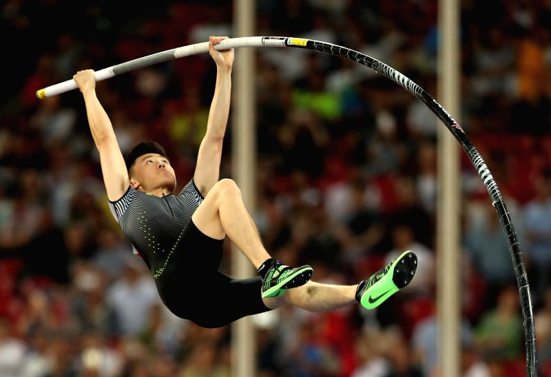 BEIJING, MAY 18, 2016 - Xue Changrui of China competes during the Men's Pole Vault Final at 2016 IAAF World Challenge Beijing at National Stadium in Beijing, China, on May 18, 2016. Xue Changrui took ...
