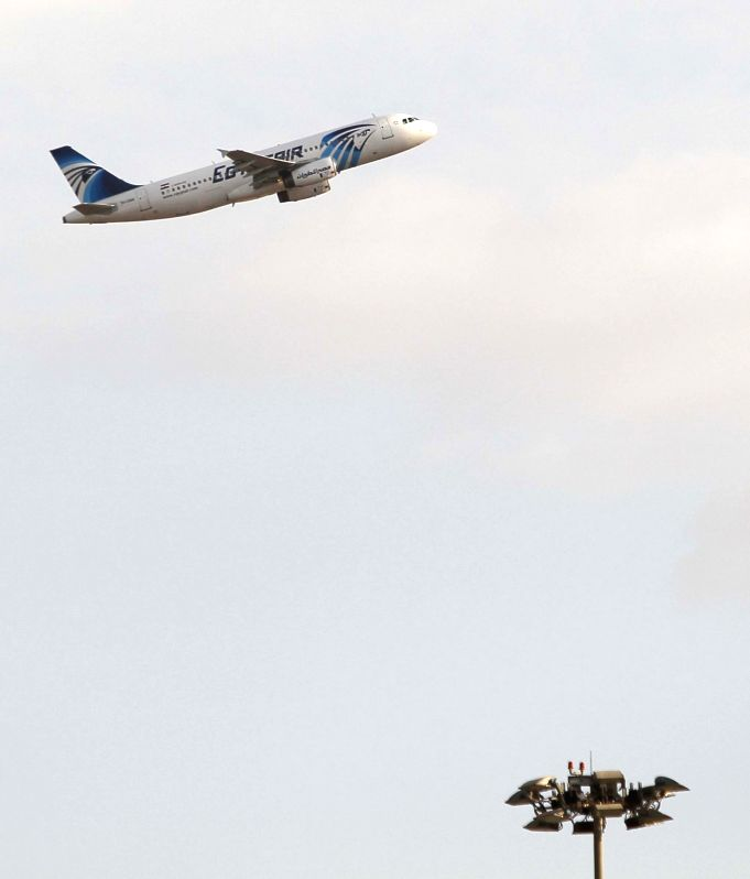 BEIJING, May 19, 2016 - File photo taken on Jan. 31, 2011 shows an EgyptAir plane taking off from the airport of Cairo, Egypt. A plane carrying 58 passengers which took off in Paris has disappeared ...