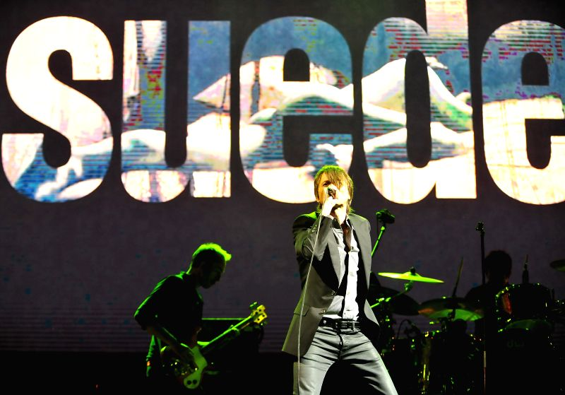 Brett Anderson of the British rock band Suede performs on the first day of the 2014 Midi Music Festival in Beijing, capital of China, May 1, 2014. The 2014 Midi Music