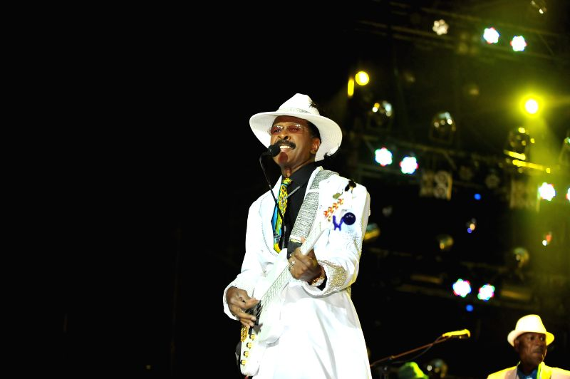 Larry Graham of the American funk band Graham Central Station performs on the first day of the 2014 Midi Music Festival in Beijing, capital of China, May 1, 2014. The