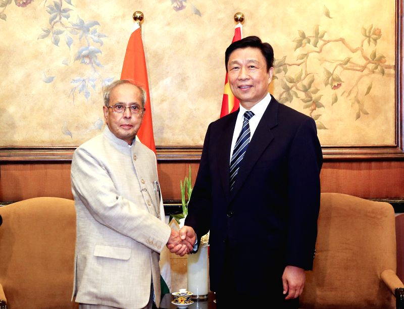 BEIJING, May 26, 2016 - Chinese Vice President Li Yuanchao (R) meets with visiting Indian President Pranab Mukherjee in Beijing, capital of China, May 25, 2016. Invited by Chinese President Xi ... - Pranab Mukherjee